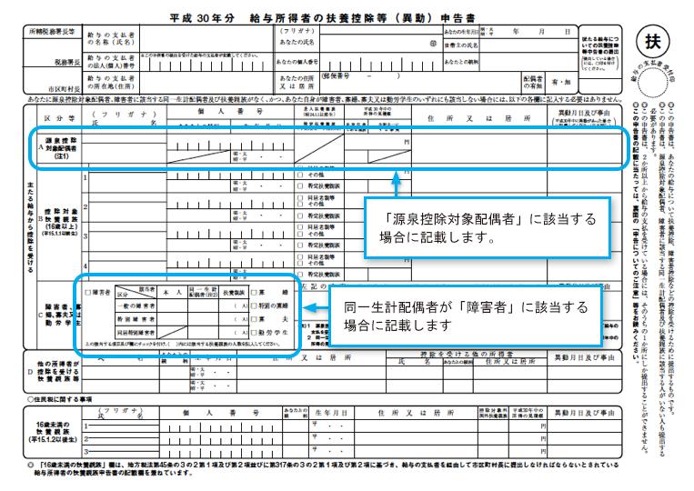 平成30年分 給与所得者の扶養控除等(異動)申告書