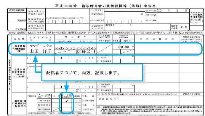 給与所得者本人の合計所得金額が900万円以下、配偶者の合計所得金額が38万円以下の場合の記入例