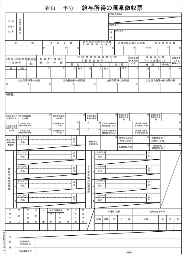 国税庁 PDF「給与所得の源泉徴収票」(税務署提出用・受給者交付用)
