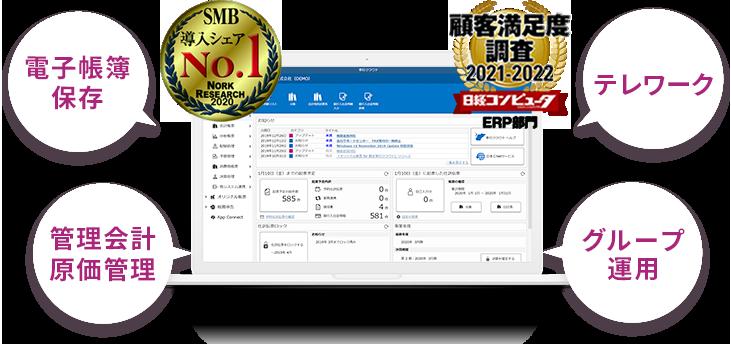 SMB導入シェアNo.1 顧客満足度2020-2021 電子帳簿保存法 管理会計原価管理対応 テレワーク対応 グループ運用対応