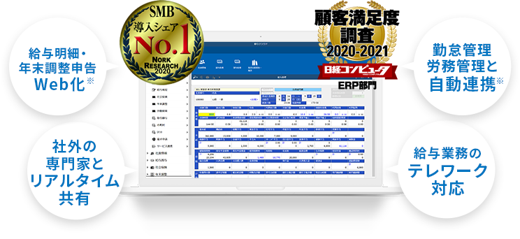 SMB導入シェアNo.1 顧客満足度2020-2021 明細・年末調整申告のデジタル化 総務人事管理と自動連携 勤怠管理労務管理と自動連携 給与業務のテレワーク対応