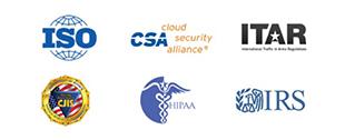 ISO 27001、HIPAA、FedRAMP、SOC1、SOC2