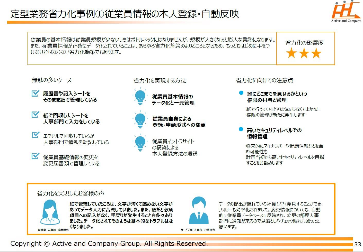 従業員情報の本人登録・自動反映 事例